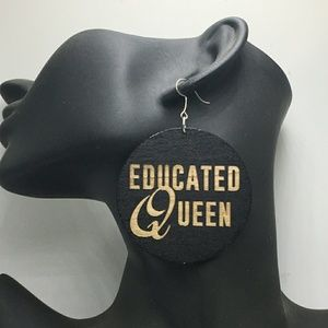 Educated Queen Earrings new Wooden